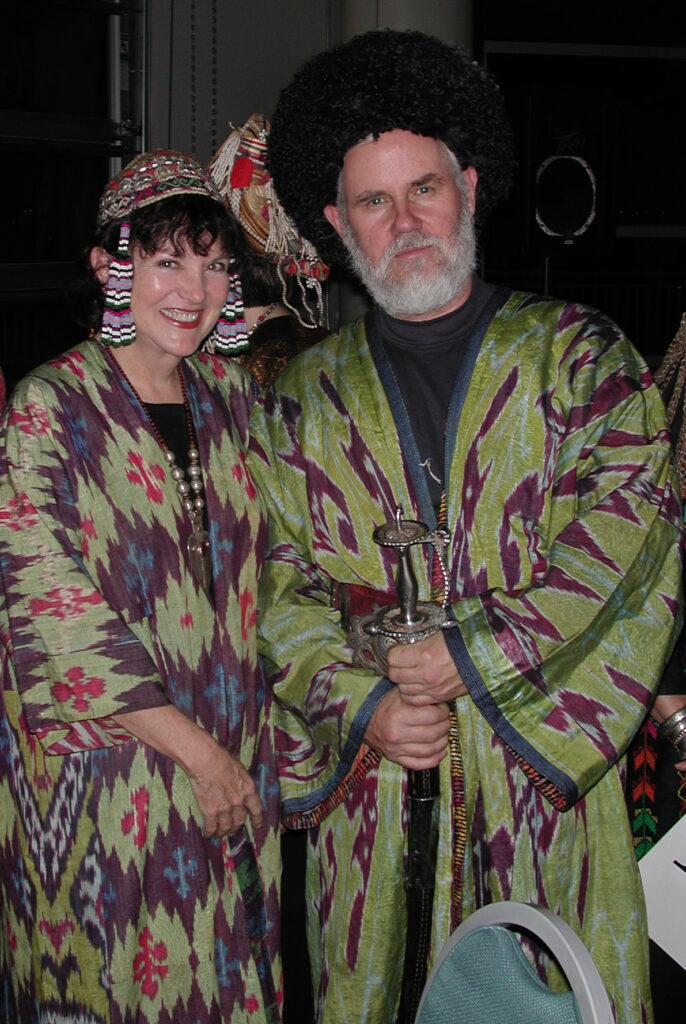 Sharon and Fred Lundahl in Uzbek Chapans at ACOR