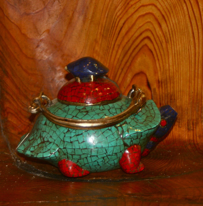 Antique Tibetan Tea Pot Lhasa Coral Turquoise