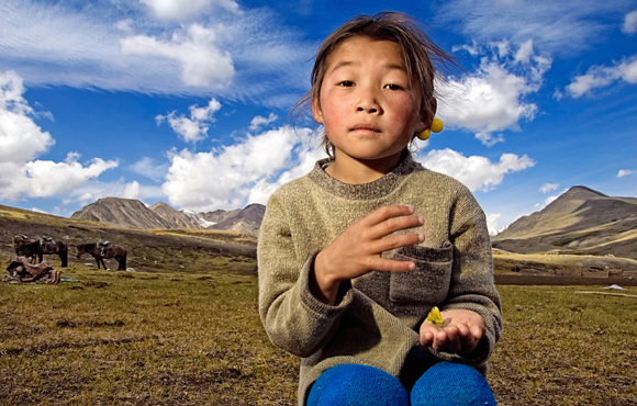 kazakh girl on kazakh steppe