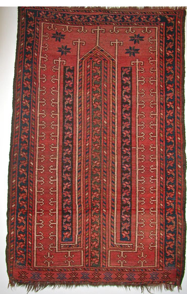 Turkmenistan Prayer Rug Carpet 19th century