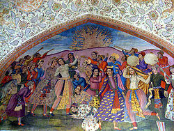 Persian Wall Painting from Safavid Era