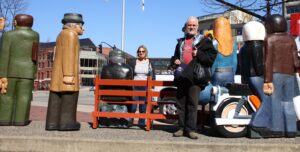 Fred with Friends and Statues in Saint John. © Sharon Lundahl