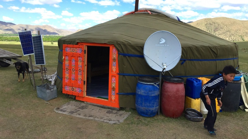 Mongolian Yurt with Dish TV and Solar Panels. © Fred Lundahl