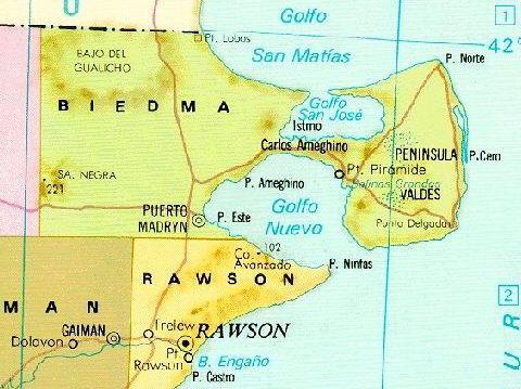 map peninsula valdes