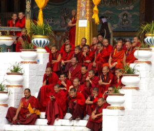 Monks Enjoying a Dance Performance. © Sharon Lundahl